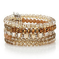 Mood - Tonal brown faceted beaded cuff