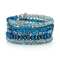 Mood - Tonal green bead multi stone cuff bracelet
