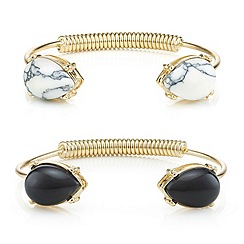 Mood - Set of two polished gold teardrop stone tip open cuff
