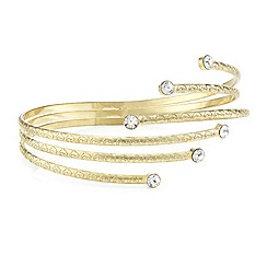 Mood - Multi row crystal tip gold arm cuff