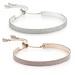 Mood - Set of two glitter embellished bar toggle bracelet