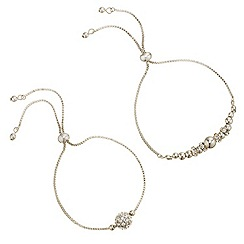 Mood - Set of two polished and crystal embellished ball toggle bracelet