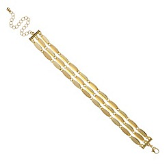 Mood - Triple row polish gold navette link bracelet