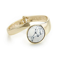 Mood - White marbleized stone encased polished gold twist bangle