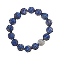 Mood - Blue and silver bead stretch bracelet