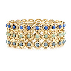 Mood - Tonal green round stone multi row stretch bracelet