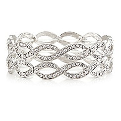 Mood - Silver crystal embellished open lattice stretch bracelet