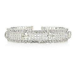 Mood - Diamante crystal embellished multi row stretch bracelet