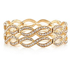 Mood - Gold crystal embellished open lattice stretch bracelet