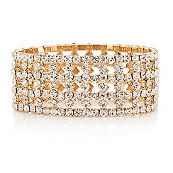 Mood - Crystal encased gold grid effect multi row stretch bracelet