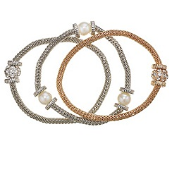 Mood - Set of three pearl and crystal embellished ball mesh bracelet