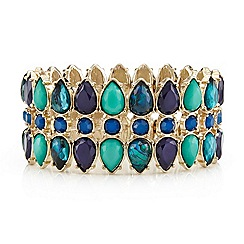 Mood - Green marbleized teardrop triple row stretch bracelet