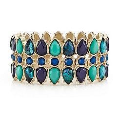 Mood - Green marbleized teardrop triple row stretch bracelet