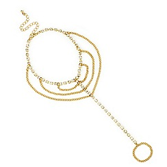 Mood - Gold square crystal link diamante loop hand chain