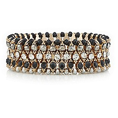 Mood - Jet bead and crystal gold multi row stretch bracelet
