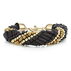 Mood - Jet bugle and gold bead twist bracelet