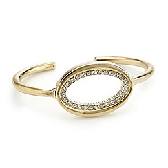 Mood - Diamante surround open oval gold cuff