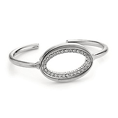 Mood - Diamante surround open oval silver cuff