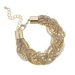 Mood - Two tone multi chain plait bracelet