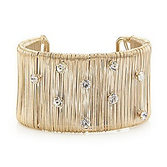 Mood - Gold crystal encased textured cuff