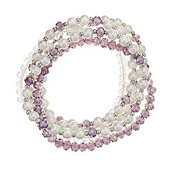 Mood - Multi pack cream pearl and purple facet bead stretch bracelet
