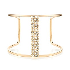 Mood - Pave embellished bar gold open cuff