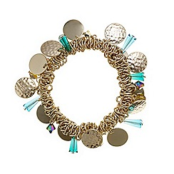 Mood - Green bead and gold disc cluster stretch bracelet