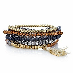 Mood - Multi pack jet and gold facet bead tassel stretch bracelet