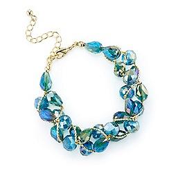Mood - Green tonal facet bead twist bracelet