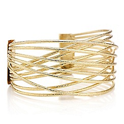 Mood - Gold textured cross over cuff bracelet