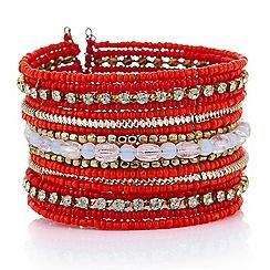 Mood - Orange beaded cuff bracelet