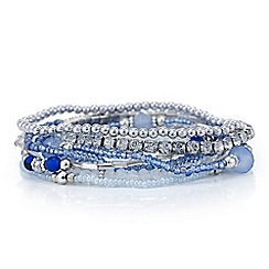 Mood - Blue crystal multi pack stretch bracelets
