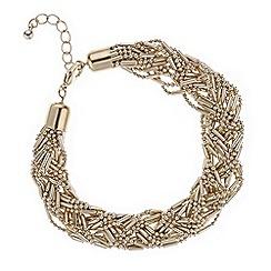 Mood - Gold plaited bead bracelet