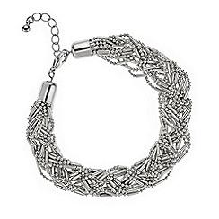 Mood - Silver bead plaited twist bracelet