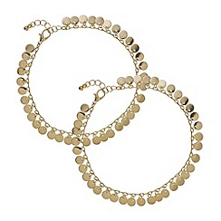 Mood - Gold disc set of two anklet