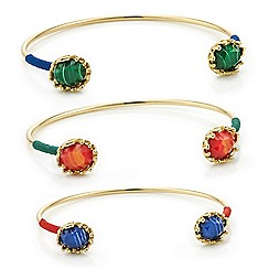 Mood - Pack of three open cuff stone bangles