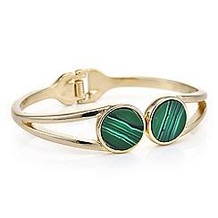 Mood - Open hinge green stone cuff bracelet