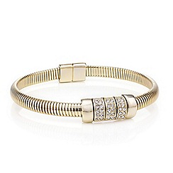 Mood - Gold stretch cuff crystal link bracelet