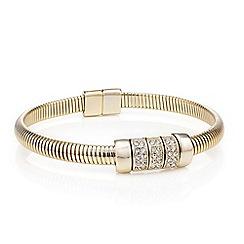 Mood - Gold stretch cuff crystal link bracelet