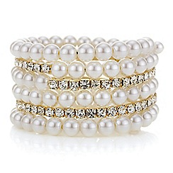 Mood - Pearl and diamante crystal coil bracelet