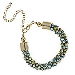 Mood - Metallic khaki cluster bead bracelet