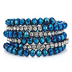 Mood - Metallic blue bead and diamante coil bracelet