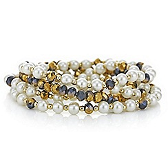 Mood - Gold pearl and bead bracelet set
