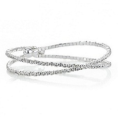 Mood - Silver diamante cross over bangle