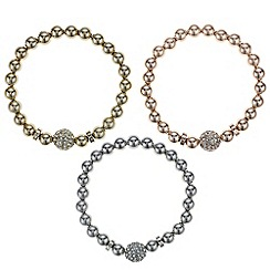 Mood - Set of three multi tone pave ball bracelets