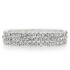 Mood - Silver crystal diamante stretch bracelet set