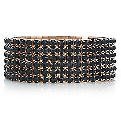 Mood - Rose gold black diamante stretch bracelet