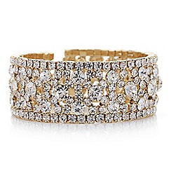 Mood - Gold crystal open cuff bracelet