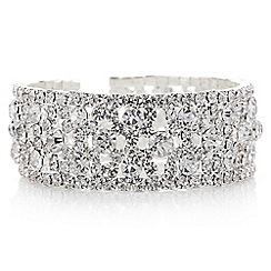 Mood - Silver crystal open cuff bracelet