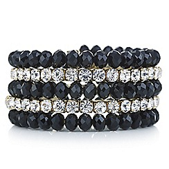 Mood - Black bead and diamante coil bracelet